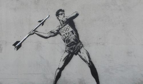 banksystreetart:  Banksy strikes before the opening of the Olympics.