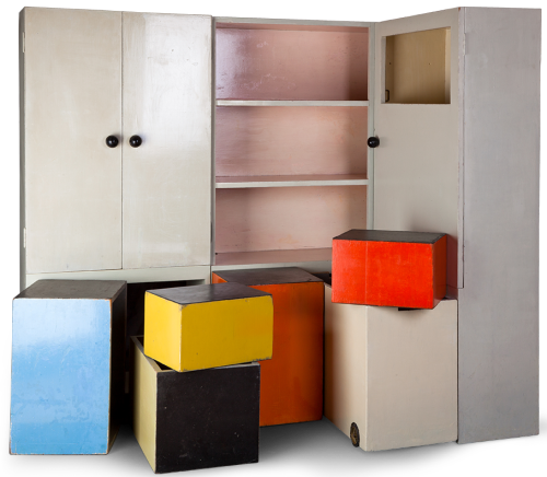 Alma Siedhoff-Buscher. Haus am Horn nursery furniture. 1923-24 Siedhoff-Buscher designed this furniture for the children's room in the experimental Haus am Horn, part of the first Bauhaus exhibition of 1923. Widely regarded as the first true manifestation of the Bauhaus's modernist principles in furniture construction and domestic design, Siedhoff-Buscher's furniture exemplifies the opportunity to combine elemental, multipurpose forms with the potential for mass production. It also reflected her ambitious conception of design for children and belief in the potential of this area to effect change in society at large in addition to the individual child or family. Learn more at MoMA.org/centuryofthechild