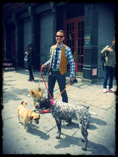 The Cutest Dog Walker was spotted on 9th Avenue…Meatpacking District, NYC (via Guest of a Guest)