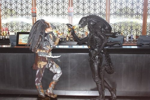 No fighting after the work-day is done via Stan Winston