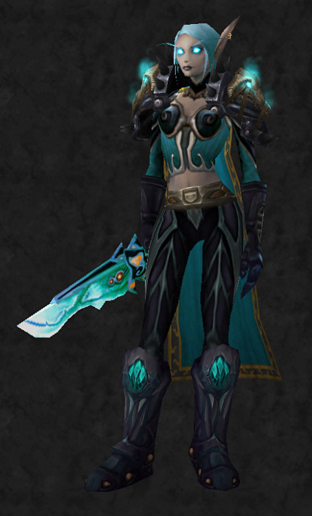 Death Knight onlyWowhead link  Shoulders: [Wrathful Gladiator's Dreadplate Shoulders] - 1,040 HP Back: [Cloak of Entropy] - Outland world drop Chest: [Warrior's Embrace] - Shade of Hakkar, Sunken Temple Shirt: [Cerulean Filigreed Doublet] - Karandonna in Dalaran (~50g) Hands: [Darkrune Gauntlets] - Blacksmithing Waist: [Ancestral Girdle] - Quest reward (Zul'Drak)  Legs: [Enchanted Adamantite Leggings] - Blacksmithing Feet: [Woe Breeder's Boots] - 1,650 JP Weapon: [Darkened Broadsword] - Outland world drop