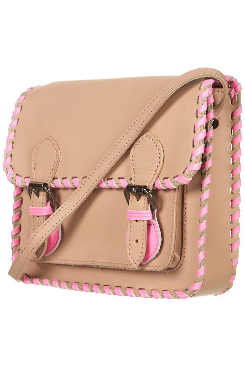 My Wishlist- Neon Whipstitch Satchel from Topshop- Leather with neon pink accent whipstitch edging- I want this bag! Classy with an edge