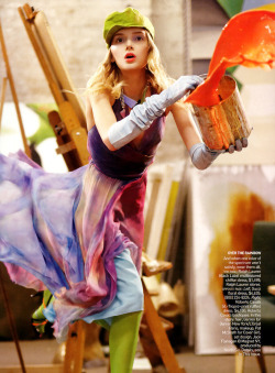 Lily Donaldson in dress by Ralph Lauren photographed by Steven Meisel for Vogue US March 2006.