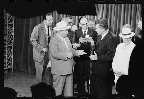 "July 24, 1959:  Nixon and Khrushchev's ""Kitchen Debate"" On this day in 1959, then-vice president Richard Nixon encountered Soviet premier Nikita Khrushchev at the American National Exhibition in Moscow.  Ironically, it was in the display of a model American kitchen that Nixon and Khrushchev got into a heated argument about capitalism versus communism, in what became known as ""The Kitchen Debate."" For other interesting facts about President Nixon, check out the American Experience ""Did You Know?"" page here.  Photo:  Library of Congress"