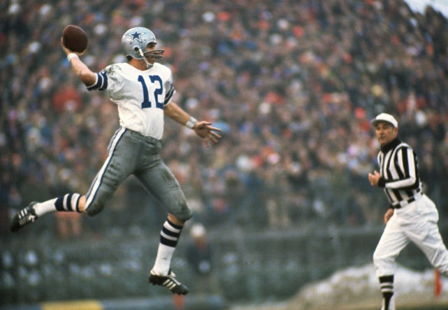 Cowboys QB Roger Staubach makes a leaping pass during a 1971 game against the Vikings. (Neil Leifer/SI) SI VAULT: Staubach is the do-gooder who's doing good (9.4.78)