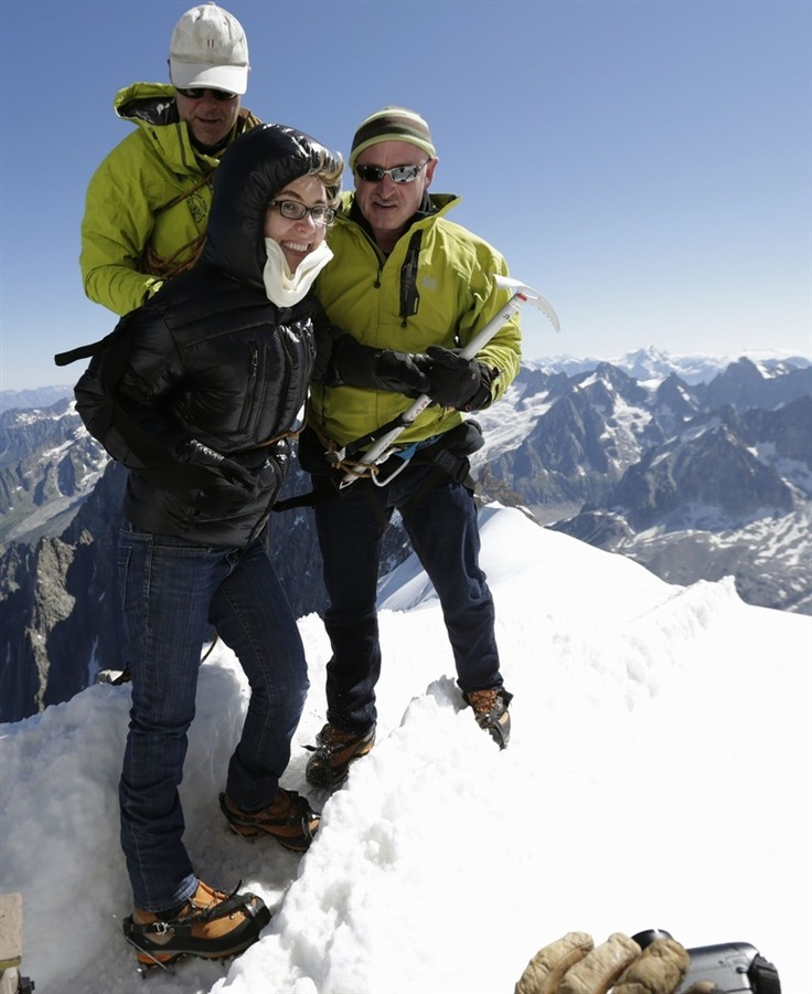 motherjones:  breakingnews:  Gabrielle Giffords, Mark Kelly scale French Alps Reuters: Former Arizona congresswoman Gabrielle Giffords traveled to the French Alps on Monday with her astronaut husband Mark Kelly. Giffords, still recovering from wounds after being shot last year, was on her first trip outside the United States since the January 2011 shooting. Photo: Giffords, center, stands with her husband Mark Kelly, right, and mountain guide Vincent Lameyre (Denis Balibouse / Reuters)  Awesome.