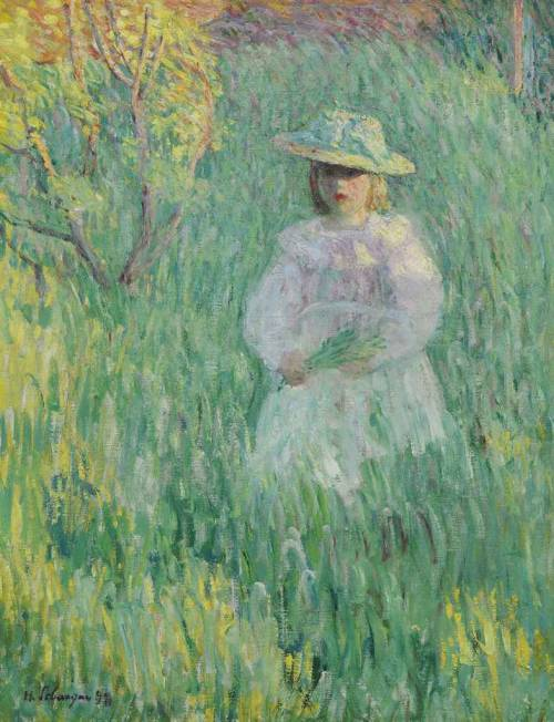 poboh:  Little girl in a meadow, 1898, Henri Lebasque. French (1865 - 1937)