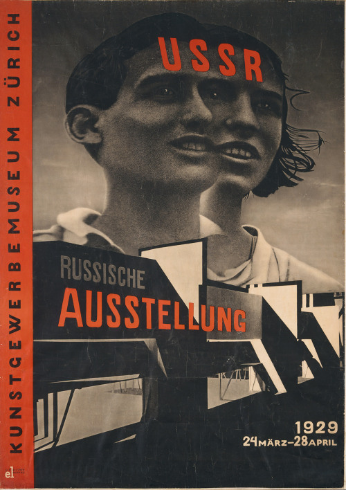 El Lissitzky. USSR. Die russische Ausstellung (USSR: The Russian exhibition), poster for exhibition at the Kunstgewerbemuseum, Zurich. 1929 In Lissitzky's poster a boy and a girl are photographically fused into a single entity to embody the ideal of the international Soviet and its egalitarian, collective consciousness. Their open-necked shirts and the girl's breeze-blown hair, silhouetted against an open sky, speak to the children's healthy lifestyle and, by association, the vitality of the state. This poster prefigures many of the conventions that would harden into Socialist Realism, including the relentless optimism and the gigantism that elevates figures to a superhuman scale and power. But Lissitzky's skilled use of photomontage and graphic design also make this an effective piece of propaganda, which was widely admired by avant-garde designers at the time. Learn more at MoMA.org/centuryofthechild