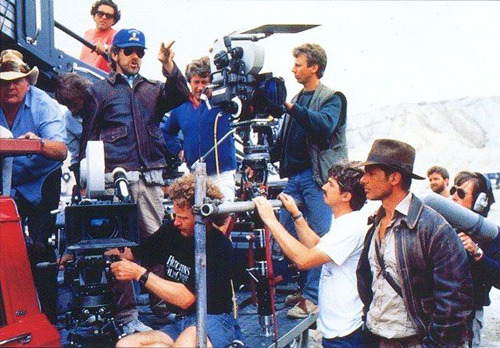 Steven Spielberg and Harrison Ford on the set of Indiana Jones and the Last Crusade (1989)  AMAZING Director!