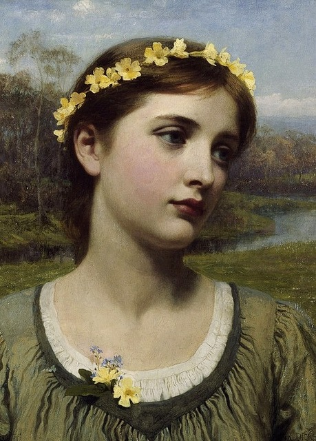 totallyacademicartblog:  rosesansespine:  Spring Maiden by Frank Dicksee  I love the little yellow flowers in this painting as well as theattention to detail in the back ground. I feel like maybe there should be a more lush Rossetti like back drop for a beautiful portrait. I feel like the back drop washes her out but then again I've just been spoiled by the PRB.