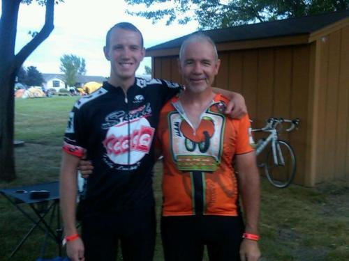Dad and I on the first day of RAGBRAI. Wearing my new team skunk jersey.