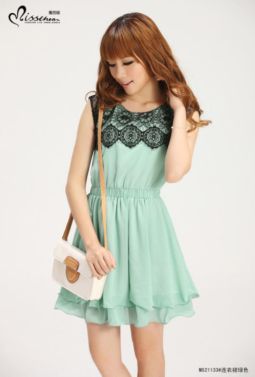 Lace-Panel Sleeveless Dress by MISSTHEA