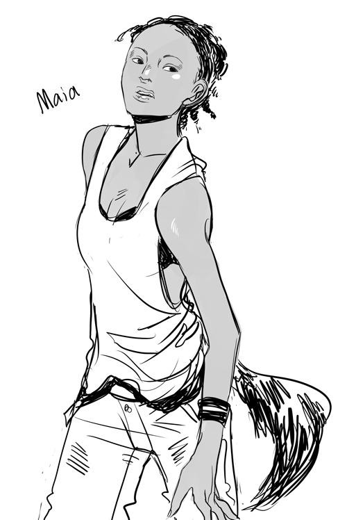 cassandrajp:  A quick doodle of Maia from The Mortal Instruments in between doing lotsa work stuff, needed to draw something not-serious!