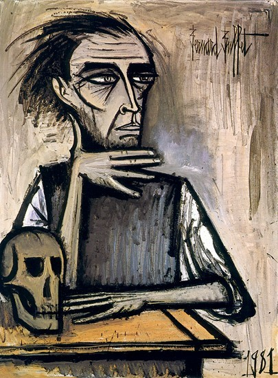 metalonmetalblog:  Bernard Buffet SelfPortrait with Skull, 1981