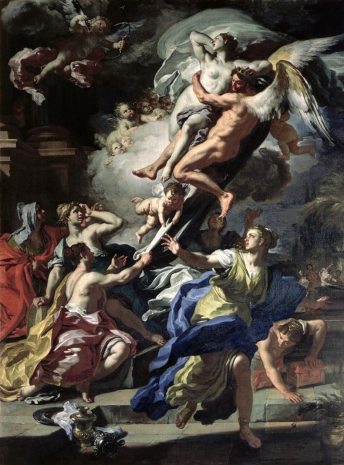 fleurdulys:  Boreas Abducting Oreithyia, Daughter of Erechteus - Francesco Solimena 1729