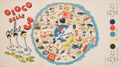 Gioco delle 3 oche (Game of the 3 geese). 1944 Toy companies in both Axis and Allied countries produced board games, puzzles, and toys that made World War II seem fun. Italian children could play Gioco delle 3 oche, an allegorical game depicting the enemy as silly geese ready for slaughter. Learn more at MoMA.org/centuryofthechild