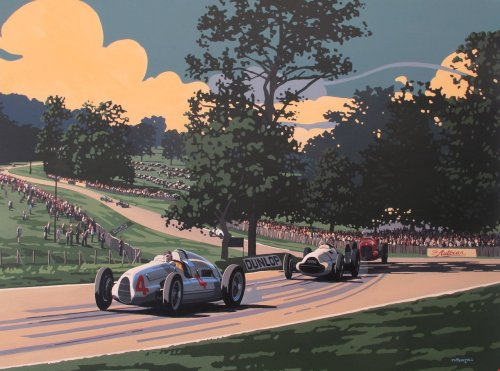 thechicane:  Silver Arrows at Donnington — amazing new work from Tim Layzell.