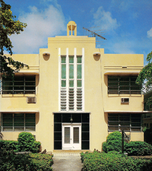 Apartment Building, Miami Beach, FloridaFrom Tropical Deco Deco apartment building on Jefferson Ave. From the book:  Residential Apartment - Jefferson Avenue (L. Murray Dixon, 1940.)