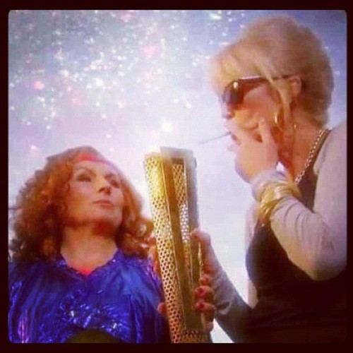 Olympic smoking zone! deathinthesubway:  Sheer genius #absolutelyfabulous #abfab #edina #patsy (Taken with Instagram)