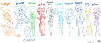 "luvpie1997:  Here's my version of each popular website—personified into humans. Originally, this was 5 different drawings, but I combined them, so the quality is kinda crappy (my apologies. >.<;;) I added youtube's ""weird side"", too. XD; Who's YOUR favorite?  Twitter EEEEEEE and Yahoo's a cutie, too. Also I love how Bing's trying to outdo Google. WHICH IT CAN'T DO HAAAAA"