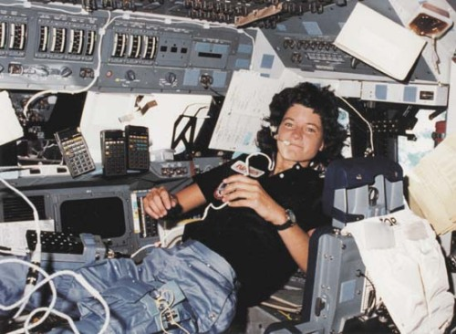 obitoftheday:  Obit of the Day: Astronaut Sally Ride Sally Ride, who became the first American woman in space in 1983*, has died of cancer at the age of 61 years old. She decided to join the space program, in 1978, after answering an ad in the newspaper. Dr. Ride had spent over 340 hours in space on two separate missions, both on the Challenger in 1983 and 1984. When the Challenger exploded in January 1986 she was training for her third mission, instead she found herself on the panel investigating the disaster. Prior to the tragedy she was one of the only individuals to support Roger Boisjoly's warnings of an imminent disaster. (Boisjoly died in February 2012.) Sally Ride left the space program in 1987 and worked at her alma mater, Stanford University as well as UC-San Diego. In 2003, following the destruction of the shuttle Columbia, she was invited, once again, to help investigate the accident. (She was the only person to serve on both investigative panels.) Dr. Ride was inducted into both the Women's Hall of Fame as well as the Astronaut Hall of Fame. And she was an English major. Sources: npr.org, wikipedia.org, and biography.com (Image of Dr. Ride while aboard the Challenger is courtesy of wired.com) * Prior to Dr. Ride's launch in June 1983, the Soviets had sent up cosmonauts Valentina Tereshkova (1963) and Svetlana Savitskaya (1983).