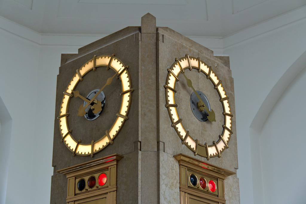 Clock in the entry area of the R.C. Harris Water Treatment Plant, taken at Doors Open Toronto 2012