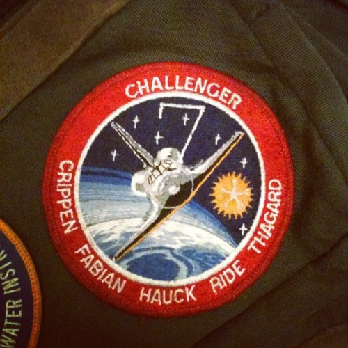 distractedbyshinyobjects:  This is the original mission patch for #Challenger7. It is on my high school backpack. When C7 launched, she carried the first American woman into space, Sally Ride, who died today. When C7 landed, I was being born in Houston, TX. My first day of high school, I brought her with me because I too was going somewhere big, new, and terrifying. I've never taken it off, I'll never get rid of the backback. Sally Ride has been a role model and an inspiration for my entire life. I hope I never live in a world that doesn't know and celebrate her name and her legacy. (Taken with Instagram)