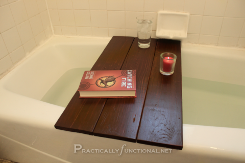 practicallyfunctional:  DIY: Turn a pallet into a bath shelf