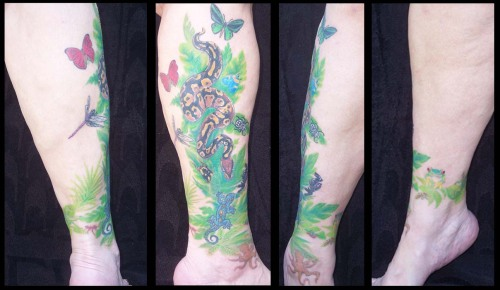 My Final result!  the sleeve is done! I started out with a gecko on my right outside ankle (my first tattoo), then I added a baby pic of my baby ball python, Bowie.  And now? A sleeve of an African Jungle Panorama!  More?  Plan to add an African Grey Parrot and perhaps a black panther…    Haitian gecko - 2007-08ish. Done at Paradise Tattoo, Key West, Florida. Everything else by Ron White of Freedom Tattoo in Florence, South Carolina: 2008 - Ball python; 2012 - Everything else (leaves, red-eyed tree frog, green birdwing butterfly, red glider butterfly, emperor peach moth, African jumping spider, Northwest Pacific Tree Octopus, leaf cutter ants, bottlebrush beetle, Goliath beetle, praying mantis, dragonfly).