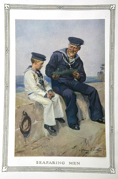 """ Seafaring Men ""  ….  Trade Pamphlet, 1900, Frontispiece by Artist:  Septimus E. Scott"