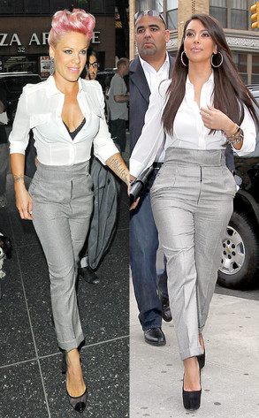Double Take: Pink Vs. Kim Kardashian in High-Waisted Houndstooth Pants Both ladies chose similar looks, although Pink's look is a bit more daring while Kim K's is a bit more conservative. Who do you think wore it better?