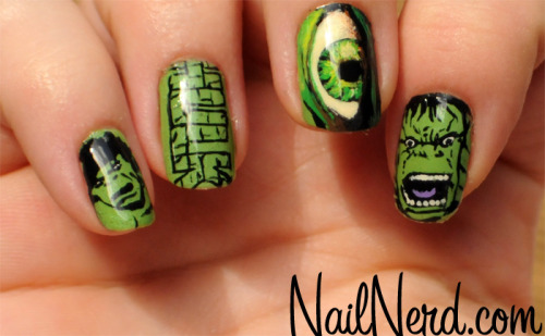 Incredible Hulk nail art on a base of MASH Lime nail polish