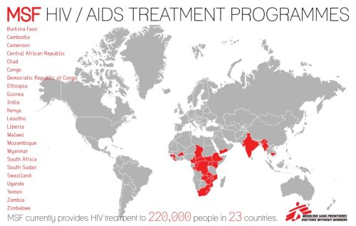 doctorswithoutborders:  MSF provides treatment for HIV/AIDS to 220,000 people in 23 countries.   This week at the International AIDS Conference (IAC), we'll be presenting field research and pushing key messages on scale-up and pricing. See why this year's IAC is unique.