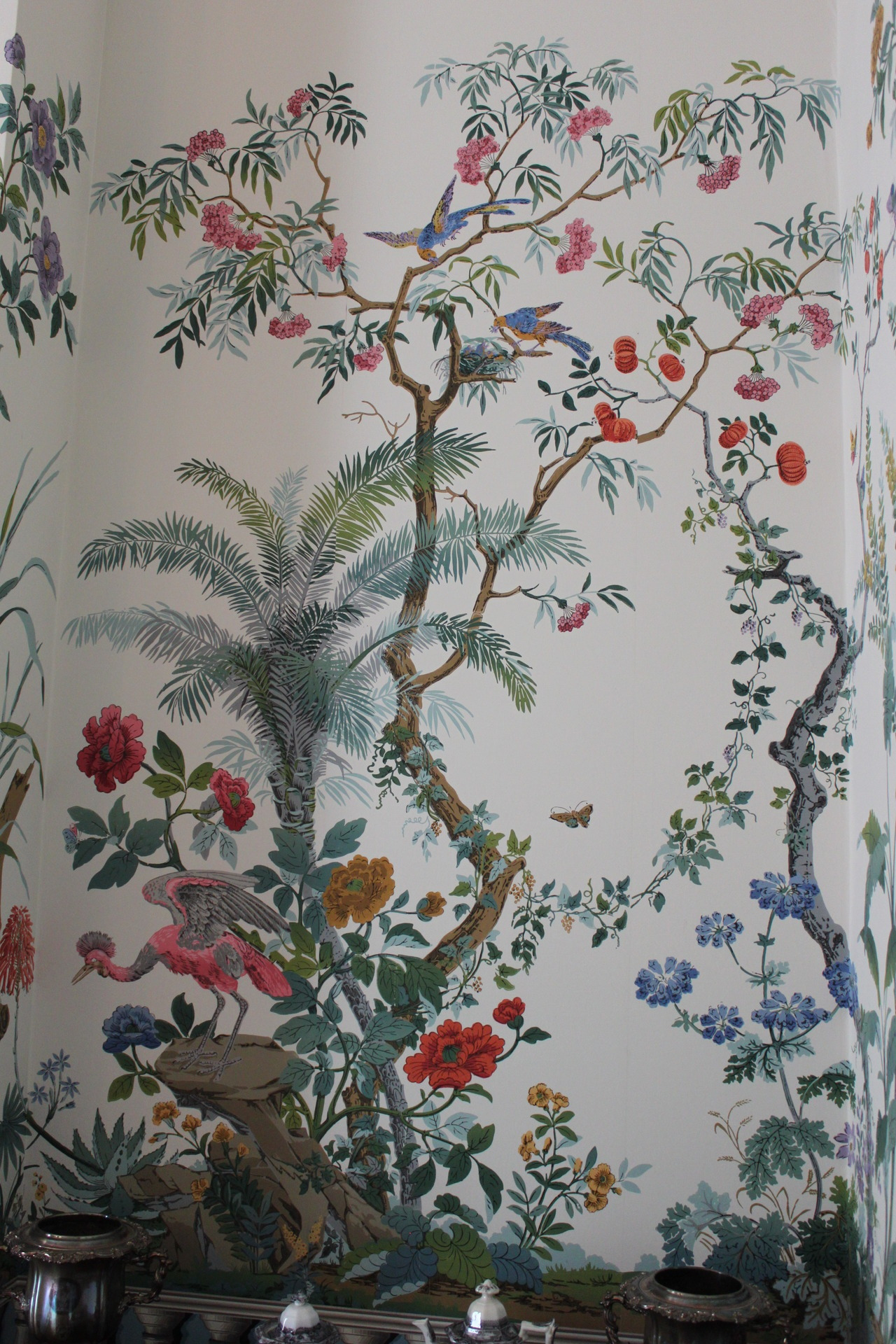 Wonderful wallpaper or wall painting.. I'm actually not sure. From Francis Costigan's 19th century house in Madison, IN