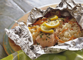 (via Grilled Lemon and Herb Salmon Packs Recipe - Tablespoon)