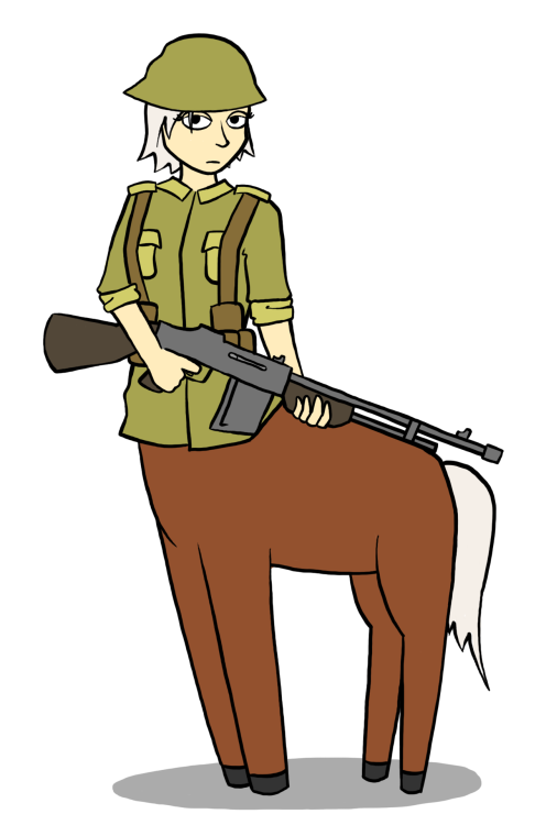 I drew a battle-weary centaur from the World War 2 era for day two of this whole 30-day monster girl challenge.