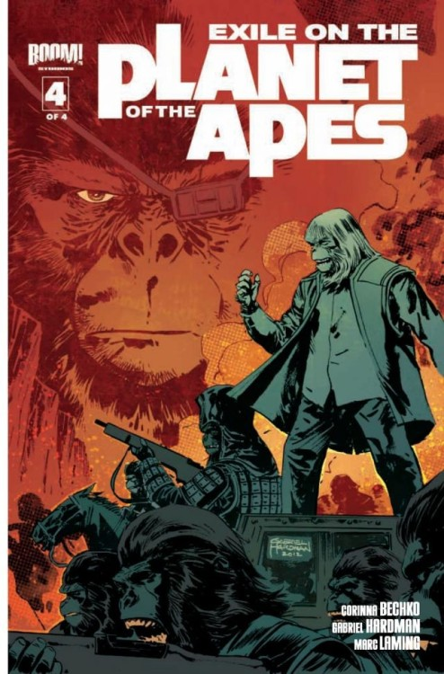Market Monday Exile on the Planet of the Apes #4, co-written by Corinna Bechko  Final Issue! With the full force of the ape army at their backs, Prisca and Tern must find a way to sway Aleron from the madness he has planned, for the Forbidden Zone, for ape and humanity combined. The epic from Gabriel Hardman (Hulk, Agents of Atlas), Corinna Bechko (Heathentown, Fear Itself: The Home Front) and red hot artist Marc Laming (American Century, The Rinse) reaches its jaw-dropping conclusion!  ~Preview~