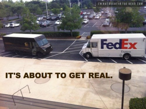 its like coke vs pepsi. with delivery services. CAPTION SAYS IT ALL.