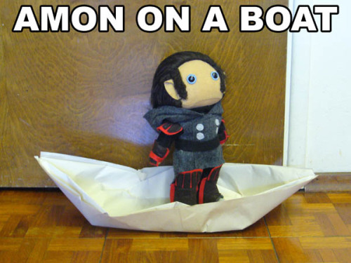 kaxen:  I'm sorry, but I don't know how to do an origami motorboat.  And I haven't done plushie Tarlokk yet.  ALL OF THE AWARDS And now all of the feels. Because that Amon plush is too cute.