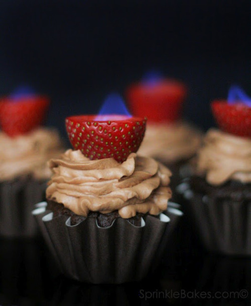 Chocolate Cupcakes with Flaming Strawberries