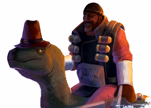 thejasman:  Demo and the Dinosaur  (By lus-luris)   That's no dinosaur. That's Pilgrim Boy!
