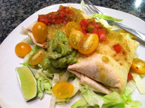 Low-fat vegan baked chimichangas.