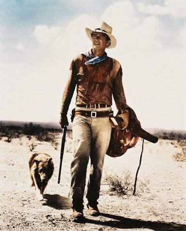 "Actor John Wayne's iconic pose from the 1953 John Farrow film ""Hondo"". Click the pic to watch the original theatrical trailer."