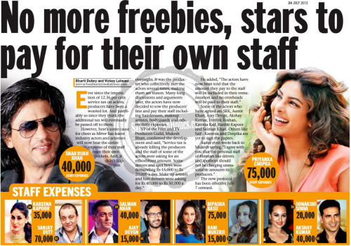 "★ No more freebies, stars to pay for their own staff; ""Some of the actors who have agreed are SRK, Aamir Khan, Ajay Devgn, Akshay Kumar… and Salman Khan."