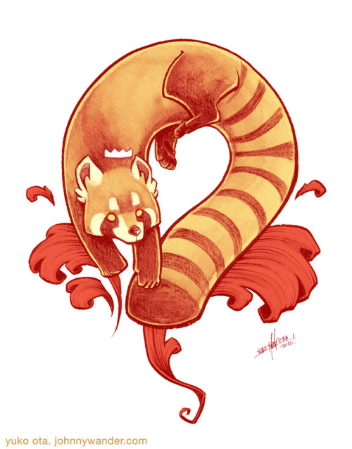 Benign Kingdom Dog Painting, Red Panda. Ink wash, some photoshop colors The second of the Kickstarter Benign Kingdom paintings!  Instead of a dog, we were requested to do a red panda, which was great because red pandas are great.  Here's my first painting if you missed it! The Fall 2012 Benign Kingdom Kickstarter is still goin'!  Check it out if you haven't yet, you should seriously watch the video if anything.  To be honest, I'm pretty surprised no one has pledged for the dog paintings yet!