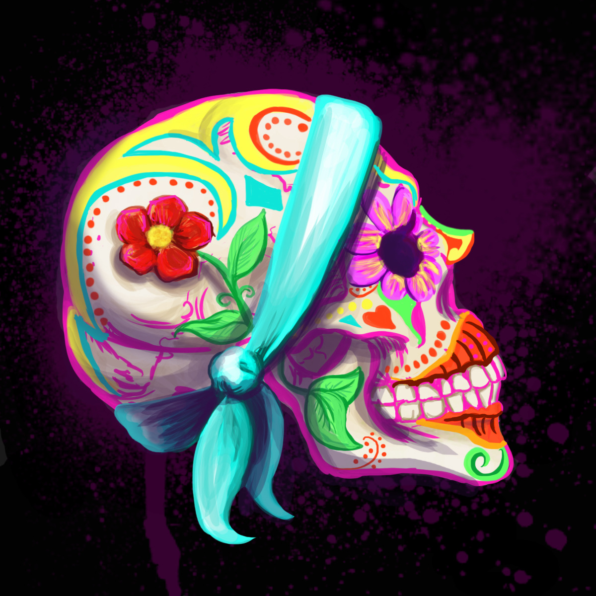 "eatsleepdraw:  ""Happy Skull"" by Kristen Terrana Digital Drawing/Painting 2012. http://kristenkahlo.tumblr.com/"