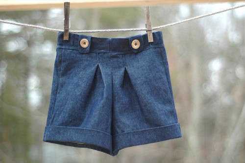 Pleated cuff shorts in the shop soon :) by Bluebirdbaby on Flickr.