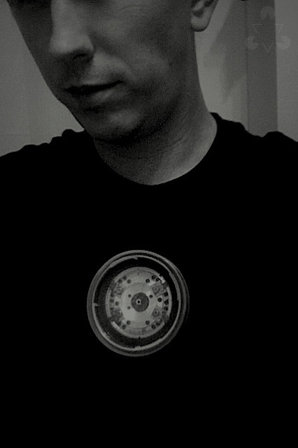commission: building an iron man arc reactor for a cross gen cosplayer  testing the mount here. works perfectly. looking forward to wiring it up and adding induction coils. ugh, i look gaunt. it's been a long monday.
