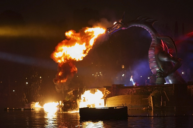 Disneyland Fantasmic Fire Breathing Dragon Murphy by fortherock on Flickr.