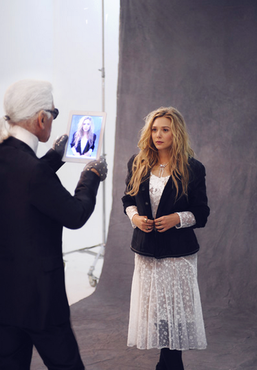 Elizabeth Olsen and Karl Lagerfeld: the making of The Little Black Jacket Chanel's Classic Revisited